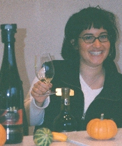 Tour guide Susanna at the tasting counter